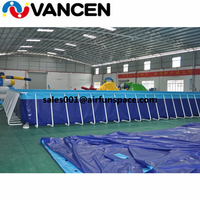 Giant above ground inflatable swimming pool 20*10*1m metal pools china supplier inflatable frame pool for amusement water park