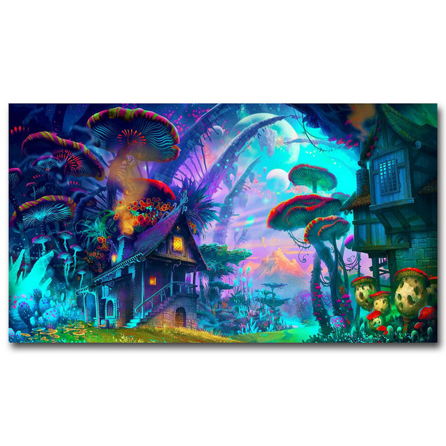 ac4338ad331e NICOLESHENTING Mushrooms House - Psychedelic Trippy Art Silk Fabric Poster  Print Abstract Wall Home Decor