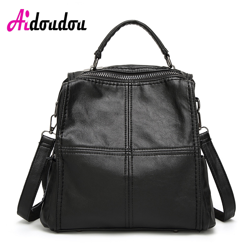AIDOUDOU BRAND Woman Backpack lattice Rugzak grid Back Bag Mochila Plaid Cute Square Sheepskin Leather Backpacks