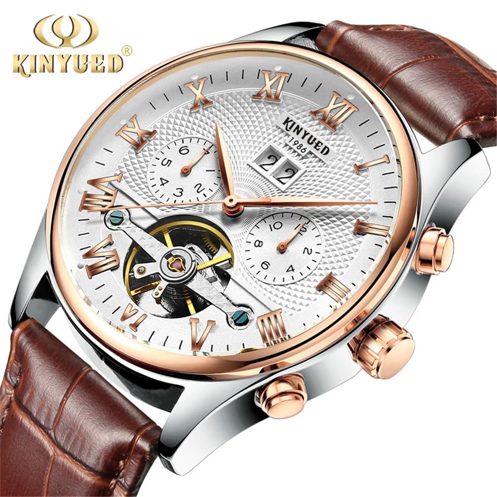 97d1945ce59 KINYUED 2018 Skeleton Tourbillon Relógio Mecânico Automático Men Clássico  Subiu de Couro De Ouro relógio de Pulso Mecânico Relógios Reloj Hombre em  Relógios ...