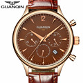 Mens Watches Top Brand Luxury GUANQIN Fashion Men Sport Chronograph Clock Brown Leather Strap Quartz Watch Relogio Masculino