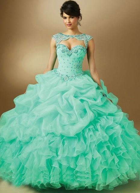 Em Estoque Vestido De 15 Años Curto Cristal Vestidos Quinceanera Mint Azul Roxo Organza Prom Vestidos de Baile da Luva do Tampão Com jaqueta
