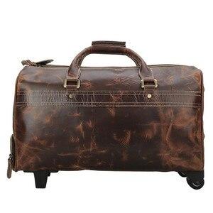 Image 3 - DU LỊCH TÍCH nam da thật chính hãng da cán hành lý xe đẩy bánh xe du lịch trolly túi đi du lịch