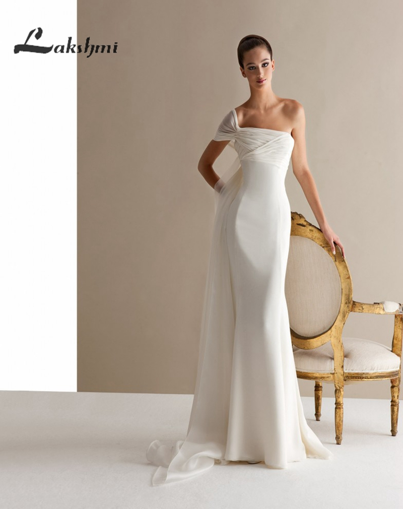 Simple one shoulder chiffon wedding dresses with watteau for Cheap chiffon wedding dresses
