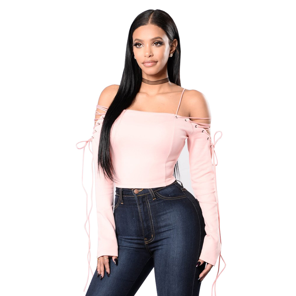 Autumn Strapless Long Sleeve Tshirt Black Pink Off Shoulder Lace Up Side Crop  Top Women Hollow Out Short T shirt S XL-in T-Shirts from Women's Clothing  ...