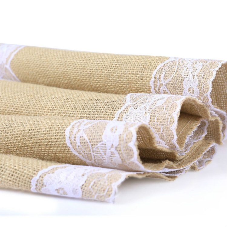 5pcs Burlap Hessian Jute Table Runner Rustic Natural Table Decoration Runner Decor Outdoor Wedding Engagement Parties Christmas in Party DIY Decorations from Home Garden