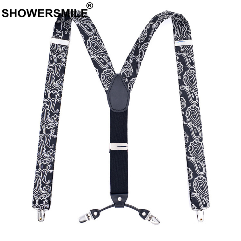 SHOWERSMILE Suspenders Print Men Fashion Black Suspenders For Men 120cm Y Back 4 Clips Male Elasticated Braces For Trousers