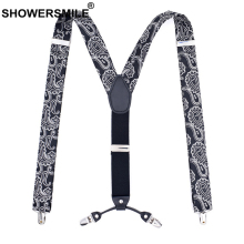 SHOWERSMILE Suspenders Print Men Fashion Black for 120cm Y Back 4 Clips Male Elasticated Braces Trousers