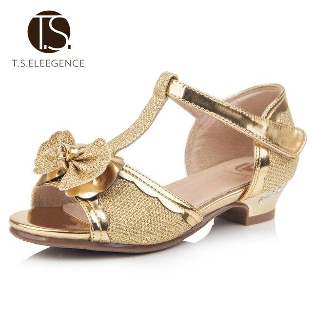 Рождество EU28-36 Горячая Кружева боути принцесса ребенок Обувь мягкие Кожаные сандалии партии девушки танцуют обувь Chaussure золотой