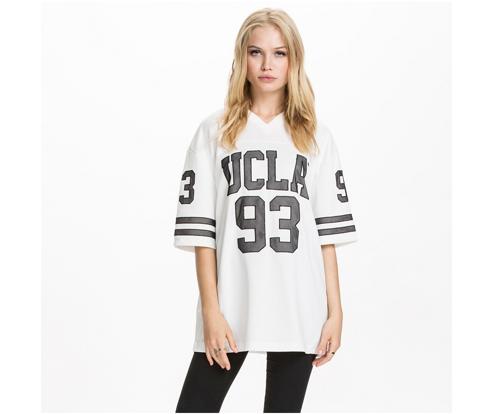 V-neck Letter Print Boyfriend Style Loose Women T-shirt