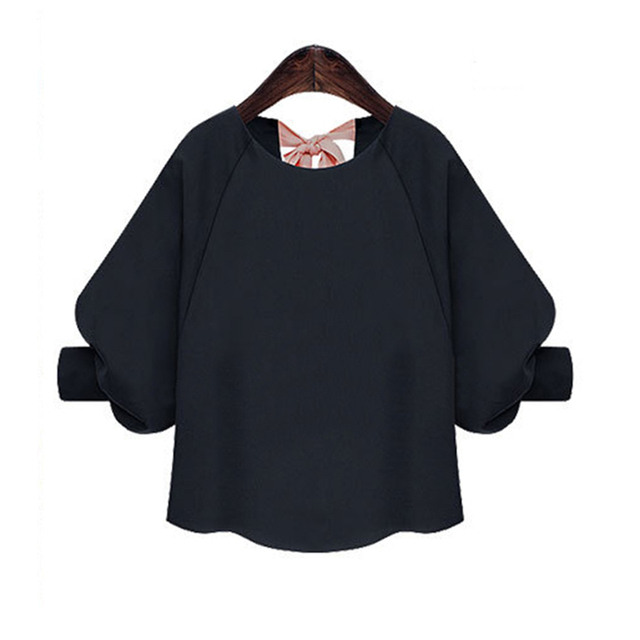 American   European fashion design women chiffon shirts plus size puff sleeve  bow tie back blouses Vogue girls summer blusas 13eda2c5d429