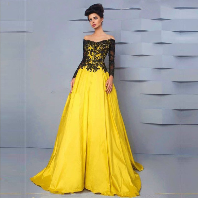 edf011d8f24 2016 Stunning Evening Dresses Long Bright Yellow and Black Lace Long Sleeve Prom  Dress Robe de Soiree Longue Vestido Longo