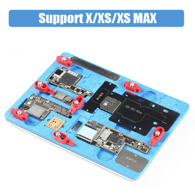 PCB Holder Repair Fixture for iPhone X XS XS MAX Motherboard Planting Tin With BGA Reballing Stencil A11 Remove Black Glue logic board planting tin fixture with solder paste bga stencil for iphone x motherboard bga reballing stencil repair tools
