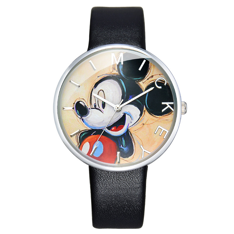 Disney original brand Children boy girl watches black band leather clocks Mickey Mouse cartoon Head waterproof quartz wristwatch cuties minnie kiss mickey mouse children cartoon leather quartz wristwatch lovely kid fashion casual simple watches disney 54127