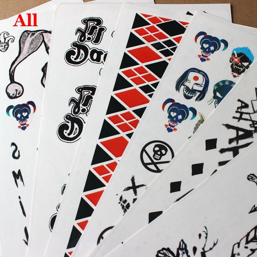 Us 1175 6 Offcosplaydiy 7 Style Samobójstwo Squad Quinn Cosplay Brzydkie Naklejki Z Tatuażami Zabawa Halloween Party Nowe Zabawki Cosplay