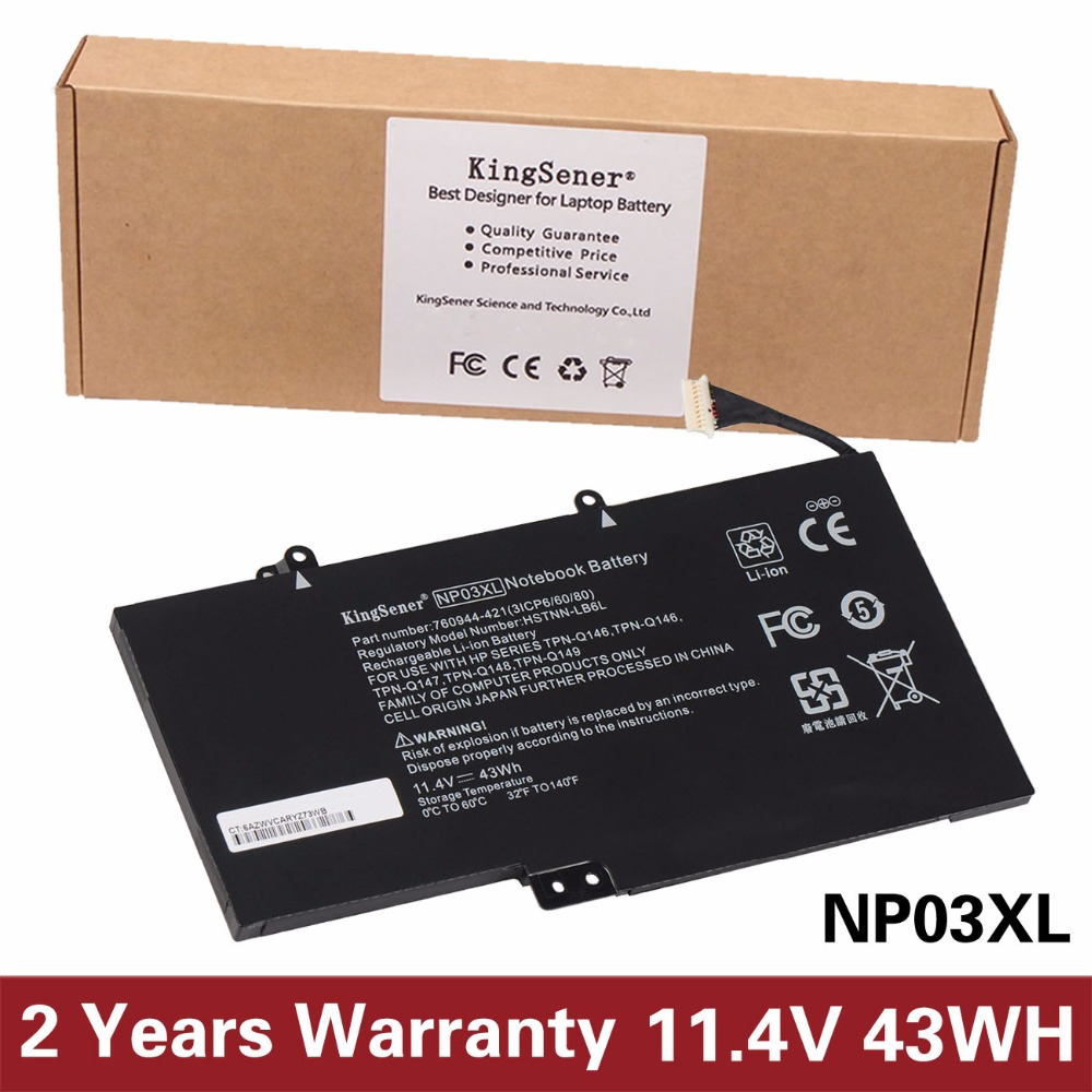 KingSener New Laptop Battery NP03XL for HP Pavilion X360 13-A010DX TPN-Q146 TPN-Q147 TPN-Q148 HSTNN-LB6L 760944-421 Batteria автомагнитола jvc kd r792bt