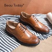 BeauToday Véritable Vache En Cuir Brogue Chaussures À La Main à lacets Bout Rond Bout Cire Veau Chaussures de Marque De Qualité Supérieure 21086
