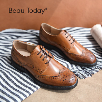 BeauToday Genuine Cow Leather Brogue Shoes Handmade Lace-Up Wingtip Round Toe Waxing Calfskin Top Quality Brand Shoes 21086 beautoday monk shoes women buckle straps genuine leather calfkin round toe lady flats handmade brogue style shoes 21408