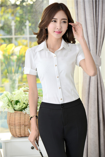 2015 Summer Uniform Style Professional Business Office Work Wear Suits Pants And Blouses Pantsuits Formal Work Set Plus Size