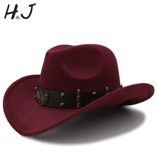 Fashion Wome Men Wool Chapeu Western Cowboy Hat Gentleman Jazz Sombrero Hombre  Cap Elegant Lady Cowgirl Hats Size 56-58CM c80d5321ac40