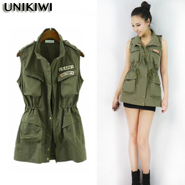 04356cb1a7 New Women s Army Green Casual Waist Vest.Lady U.S.ARMY Logo Safari  Jacket.Multi pocketed Tooling Vest.Chic All match Women Wear-in Vests    Waistcoats from ...