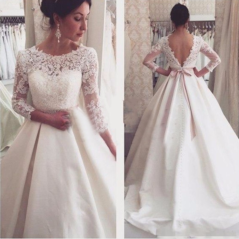 simple white long sleeve lace wedding gowns designer backless beads sashes bridal dresses cheap white stain