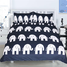 New Comforter Bedding Sets Elephant Quilt Duvet Bohemian Blue Boho Bedclothes Bed in Luxury Bedding Queen Plain Twill pillowcase(China)