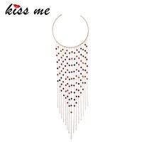 KISS ME Women Torques 2018 Popular Acrylic Beads Long Tassel Choker Necklace Fashion Jewelry Women Bijoux