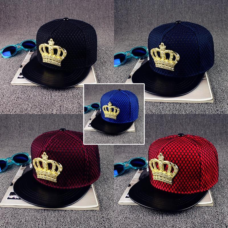 new Europe United States crown metal standard hip hop hat Street hipster net hats flat couple cap fashion snapback baseball caps(China)