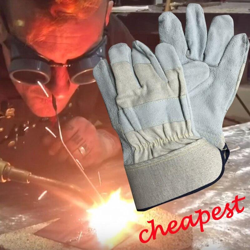 NMSAFETY 2 Pairs safety welding gloves heat insulation gloves cowhide welding gloves 3 pairs oxygen tig welding gloves work gloves breathable firebreak welder safety glove