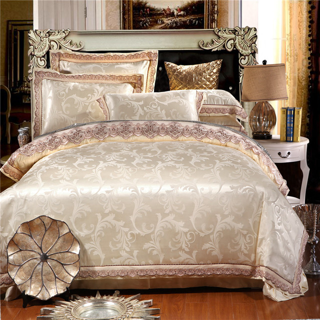 Bon ROYAL HOME Hot Sale USA Free Shipping White Tribute Silk Bedding 4pcs  Bedclothes Embroidery Luxury Queen