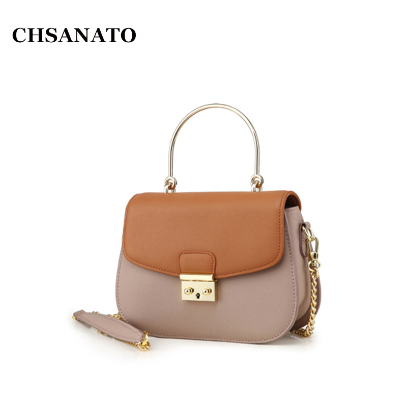 CHSANATO Hot Sale Popular Fashion Brand Design Women Genuine Leather Bag High Quality Real Cowskin Small Chain Shoulder Bags brand design genuine real leather shoulder bag large size hot sale plaid pattern chain bag fashion women handbag freeshipping