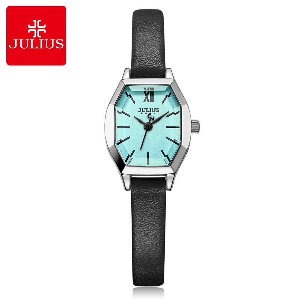 f9d5ca7c7d44 Chicas pequeño y exquisito cuero tonneau octagon simple reloj de cuarzo de  cuero de moda casual de alta calidad buen reloj Julius 996 en Relojes de  mujer de ...