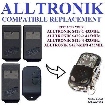 ALLTRONIK S429-1, S429-2, S429-4, S429-Mini  Cloning Universal Gate For Garage Door Remote Control Key 433.92mhz  Copy