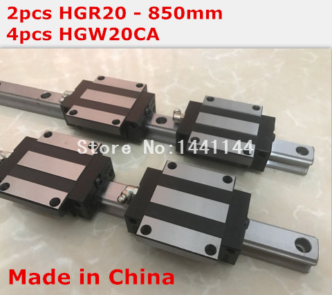 HGR20 linear guide: 2pcs HGR20 - 850mm + 4pcs HGW20CA linear block carriage CNC parts hg linear guide 2pcs hgr20 850mm 4pcs hgw20ca linear block carriage cnc parts