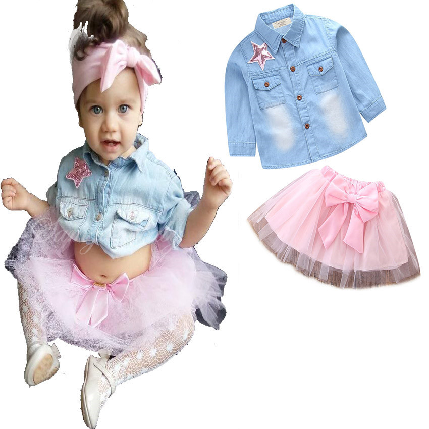 2018 Kids Spring Outfits Baby Girls Denim Shirts with Lace bow tutu Skirts Childrens Fashion Sets Kids Clothing
