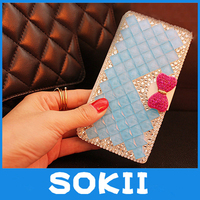 3D Lovely Bling Crystal Diamonds Bow PU Leather Wallet Case Cover For Samsung Galaxy A8 A8000