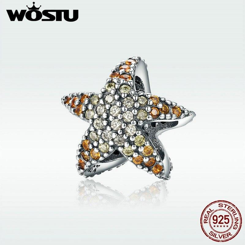 WOSTU 100% Echt 925 Sterling Silber Gelb CZ Ocean Starfish Stern Perlen Für Original Marke Charme Armband Edlen Schmuck DXC586