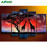 AZQSD 5D DIY Diamond Painting Crystal Embroidery Kit 5PCS Multi Pictures Diamond Mosaic Animal Africa Home