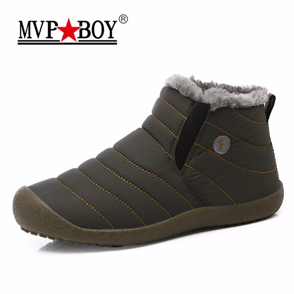MVP BOY Big Size Winter Men Snow Shoes Man Boot Lightweight Ankle Boots Warm Waterproof Mens Rain Boots 2017 New Furry Men Boots
