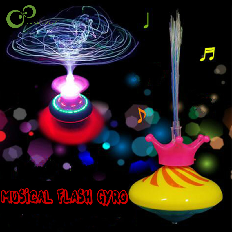 1PC Music Gyro Peg-Top Spinning Top Funny Kids Toy Classic Gyroscope Laser Color Flash LED Light New Year's Kids gift ZXH(China)