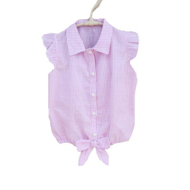 7e16fc4bd € 9.07 23% de DESCUENTO|Adolescente Niñas Blusas Rosa rayas Camisas para  estudiantes Uniformes para el colegio algodón casual niños Tops 18 m 24 ...