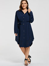 Casual Shirt Dress Women Autumn New Arrivals Fashion Openwork Scalloped Long Sleeve Ladies Dress Plus Size 3XL-6XL