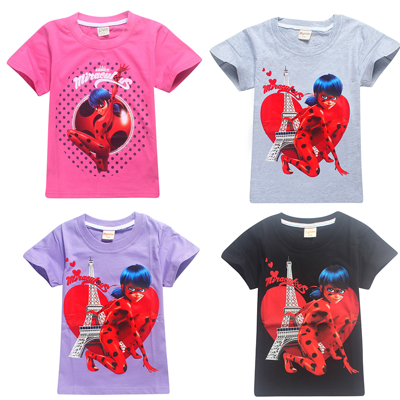 2018 lady bug kids Ladybug Girl Moana Cartoon T-shirt For Girl Tees Summer Short Sleeves Boys Tops Teen Clothes Kids Shirts(China)