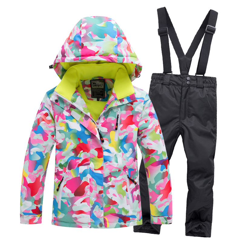 Outdoor Children Snow Suit Coats Ski Suit Sets Girl Boy Skiing Snowboarding Clothing Waterproof Thermal Skiing Jacket + Pants