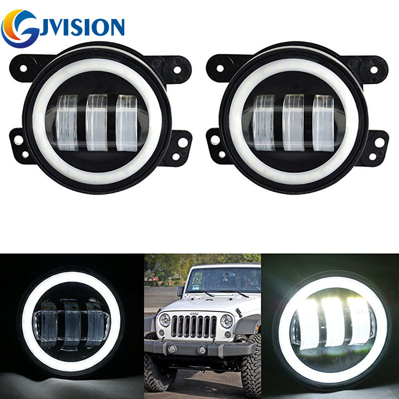 Pair 4inch Round led fog light 12V Waterproof  fog lamps 60w  High Power with Angel eyes DRL FOR Jeep Wrangler Offroad JK Dodge a pair 7 inch round led halo headlight daymaker drl with a pair 4 inch fog light angel eye for jeep wrangler jk hummer harley