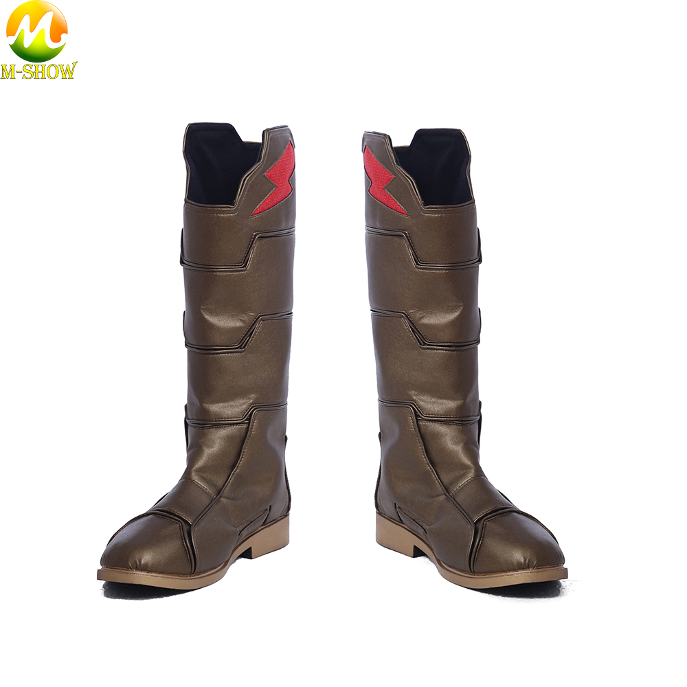 Captain Marvel Shazam Cosplay Boots PU Leather Shoes Shazam Cosplay Boots Costume Accessories For Halloween Adult Men