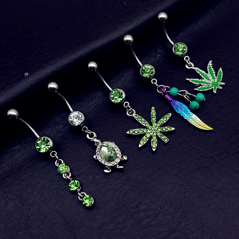 5pcs 2020 mix style green pot leaf feather tortoise bead dangle navel belly bar button rings body piercing jewelry  cheap