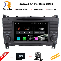 7 2 Din Quad Core Android 7 11 Car DVD GPS For Mercedes Benz C Class