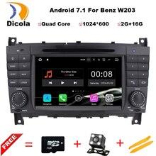 "7 ""2 Din Quad Core Android 7.11 Del Coche DVD GPS Para Mercedes/Benz Clase C W203 CLK W209 2004-2007 C200 C230 C240 C320 C350 04-11"